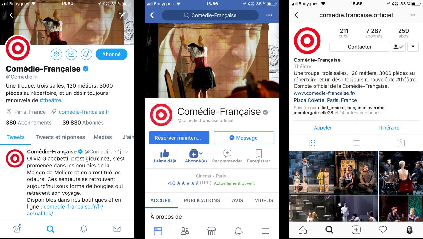 Comédie-Française réseaux sociaux twitter facebook instagram transformation numérique théâtre blog quatrième mur