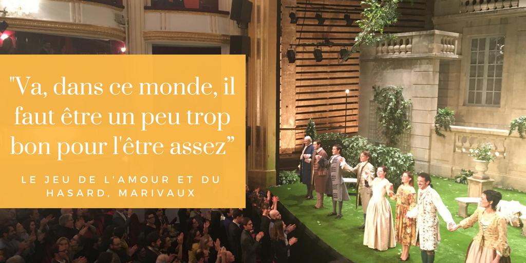 Blog Quatrieme Mur le jeu de l'amour et du hasard paris avis critique porte saint martin théâtre vincent dedienne